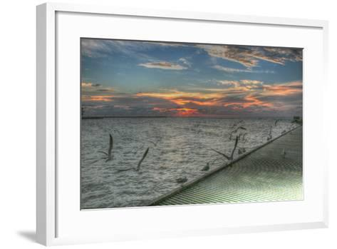 Key West Sunrise Gulls and Pier-Robert Goldwitz-Framed Art Print