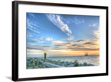 Key West Lone Figure Sunset-Robert Goldwitz-Framed Art Print