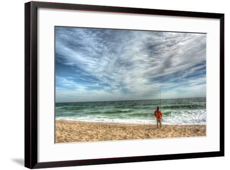 Solitary Surf Fisherman-Robert Goldwitz-Framed Art Print