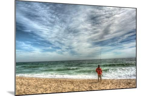 Solitary Surf Fisherman-Robert Goldwitz-Mounted Photographic Print