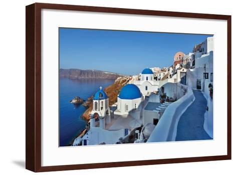 Blue Domes and Walkway-Larry Malvin-Framed Art Print