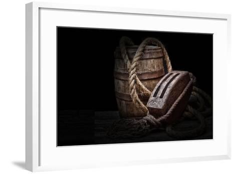 Antique Pulley and Barrel-C^ McNemar-Framed Art Print