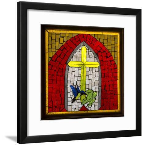 Stained Glass Cross II-Kathy Mahan-Framed Art Print