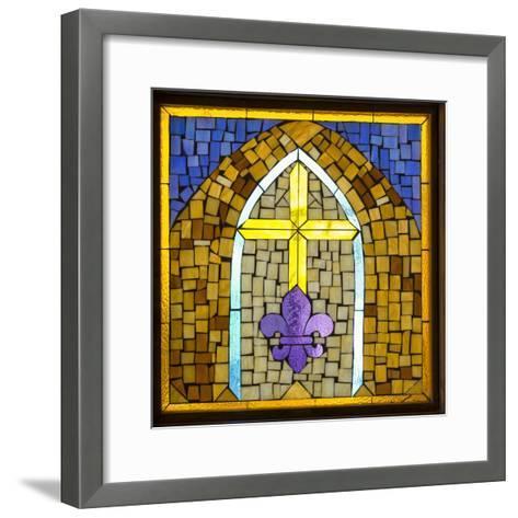 Stained Glass Cross III-Kathy Mahan-Framed Art Print