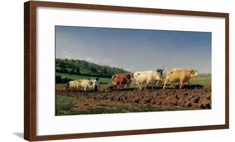 Ploughing in the Region of Nevers: Clearance-Bonheur Marie Rosa-Framed Art Print