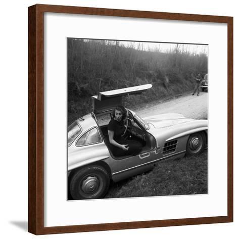 Sophia Loren Sitting Into Her Mercedes at Third Cinema Rally--Framed Art Print