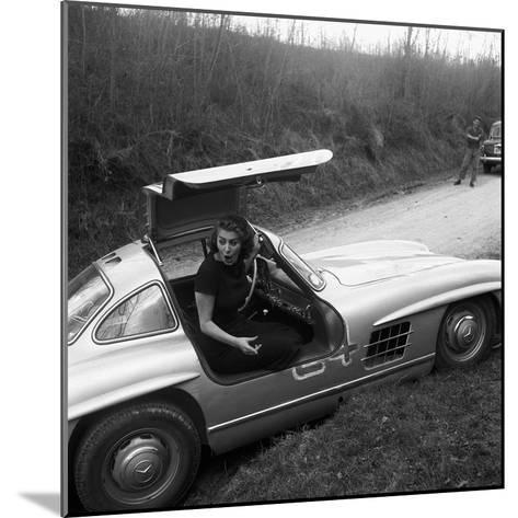 Sophia Loren Sitting Into Her Mercedes at Third Cinema Rally--Mounted Photographic Print