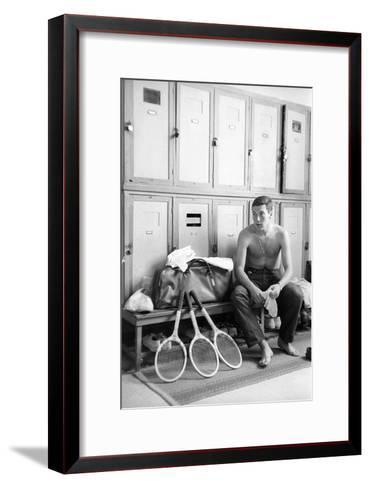 Nicola Pietrangeli in a Changing Room, with Rackets and a Sport Bag--Framed Art Print