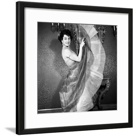 Silvana Pampanini Showing Her Dress--Framed Art Print