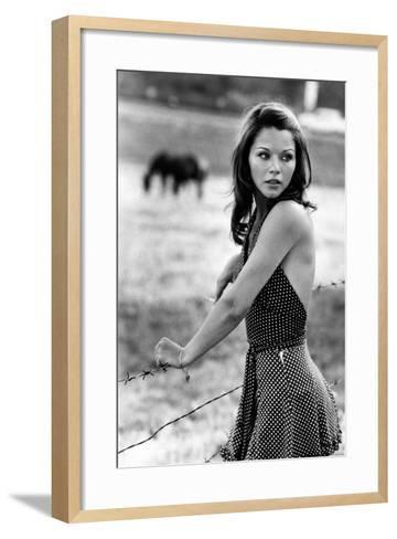 Agostina Belli Leaning on the Barbed Wire--Framed Art Print