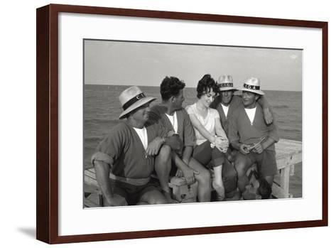 Gina Lollobrigida on the Seashore with Lifeguards--Framed Art Print
