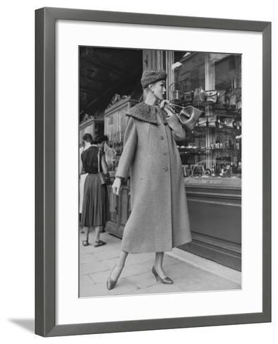 A Model Wearing a Coat with Fur Neck--Framed Art Print