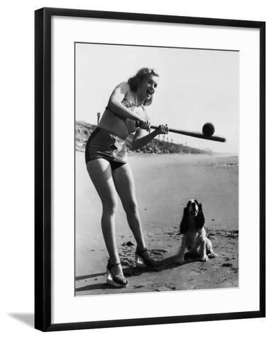 Marilyn Monroe Playing Softball--Framed Art Print