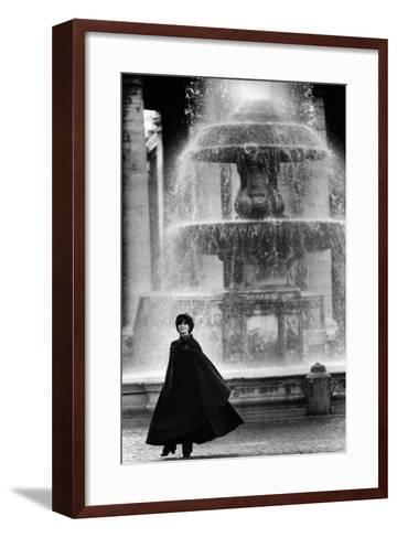 Anna Maria Guarnieri in Front of a Fountain--Framed Art Print