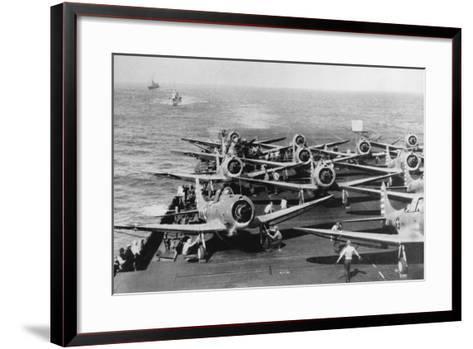 Us Navy Aircraft Carrier before the Attack Agaist Japan--Framed Art Print