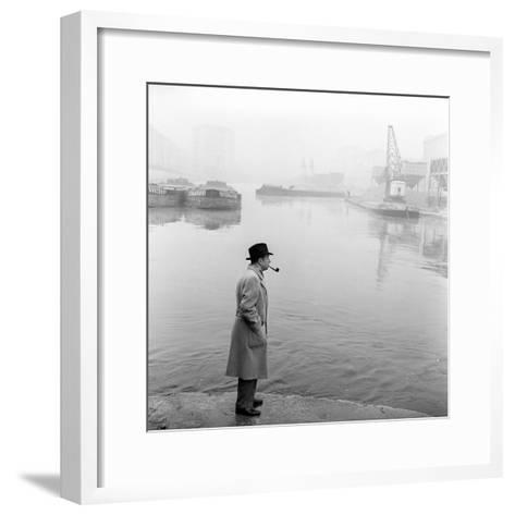 Georges Simenon Smoking a Pipe by the Navigli in Milan--Framed Art Print