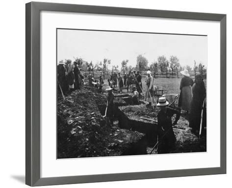 Women Assigned to Trenches Works--Framed Art Print