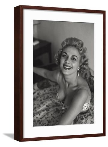 A Photo of Sandra Milo in a Floral Dress Seen From Above--Framed Art Print
