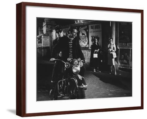 Two Men on a Motorbike in La Dolce Vita--Framed Art Print