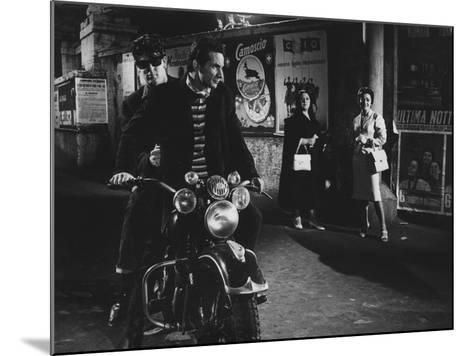 Two Men on a Motorbike in La Dolce Vita--Mounted Photographic Print