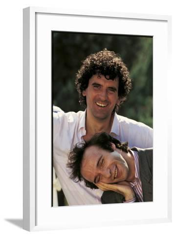 Portrait of Roberto Benigni and Massimo Troisi Smiling--Framed Art Print
