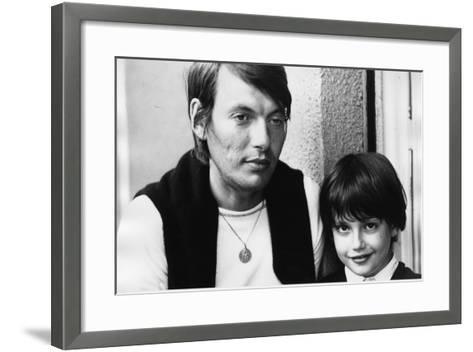Portrait of Fabrizio De Andre with Son Cristiano--Framed Art Print