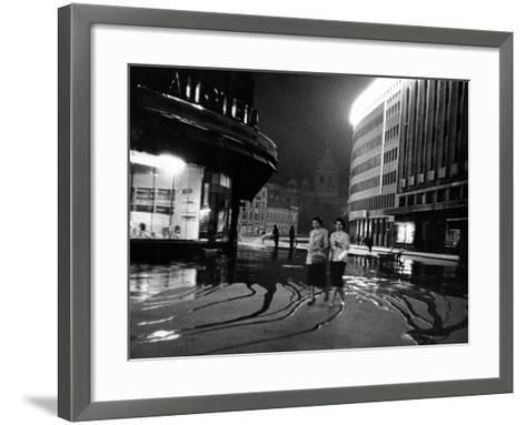 Two Serbian Women Walking Along a Street at Night, Belgrade--Framed Art Print