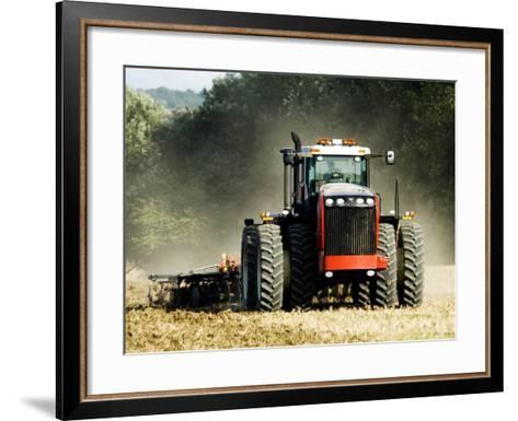 4 Wheel Drive Tractor Pulling a Disc Harrow, Cotswolds, England-Martin Page-Framed Art Print