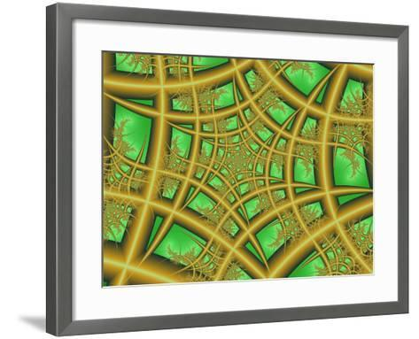 Abstract Web-Like Fractal Patterns on Green Background-Albert Klein-Framed Art Print