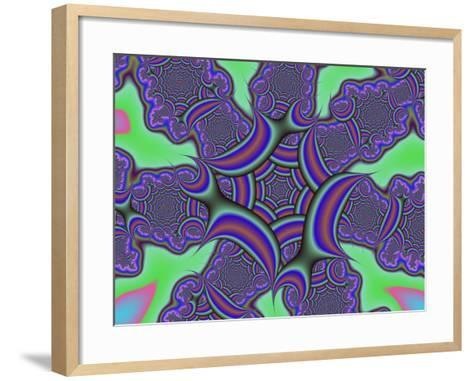 Abstract Blue, Brown and Green Fractal Patterns on Green Background-Albert Klein-Framed Art Print