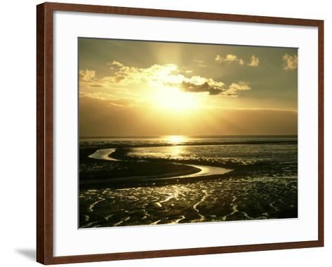 The Wash at Sunset, View Across Mudflats and Channels Snett Isham, North Norfolk-Mark Hamblin-Framed Art Print