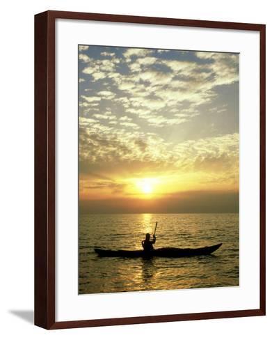 Sea Kayaker at Sunset, Greece-Paul Franklin-Framed Art Print