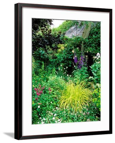 Country Garden with Colourful Perennials, Pond, Greenhouse and Statues, Sharcott Manor, Wiltshire-Lynn Keddie-Framed Art Print