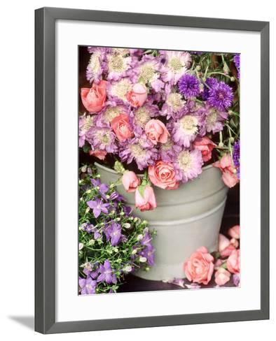 Summer Flowers in Bucket, Rosa, Scabiosa, Centaurea, Campanula-Lynne Brotchie-Framed Art Print