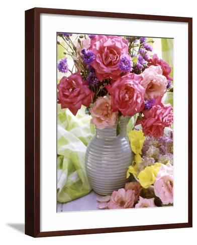 Rosa (Mixed) & Centaurea in Blue Jug-Lynne Brotchie-Framed Art Print