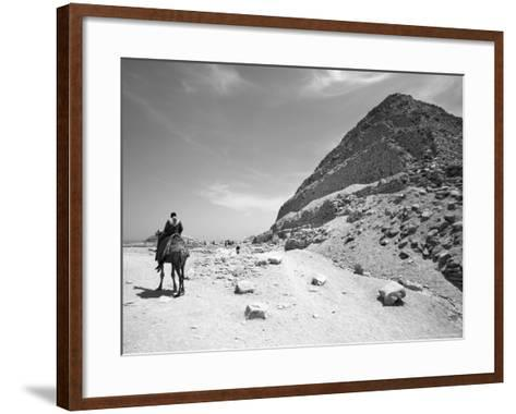 First Stepped Pyramid with Camel Rider, Egypt-David Clapp-Framed Art Print