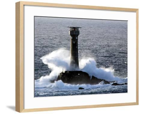 Longships Lighthouse in Huge Swells at Lands End, UK-David Clapp-Framed Art Print