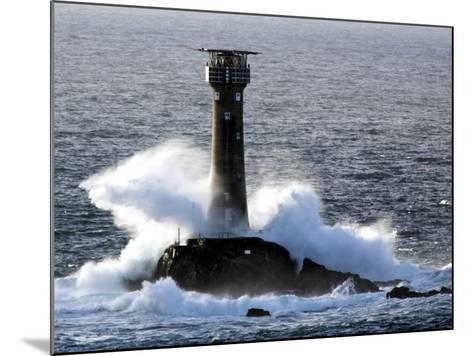 Longships Lighthouse in Huge Swells at Lands End, UK-David Clapp-Mounted Photographic Print