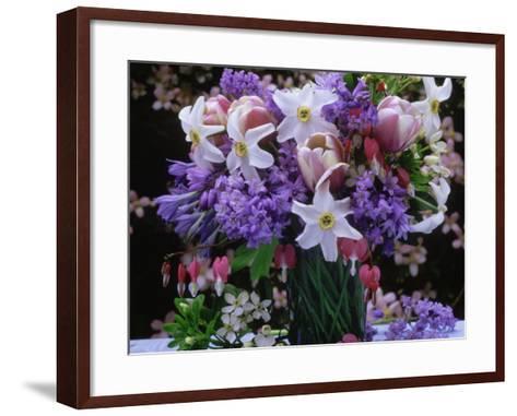 Daffodil, Tulip, Bluebells, and Bleeding Heart in Glass Vase-James Guilliam-Framed Art Print