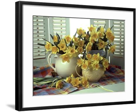 Spring Flower Arrangement of Narcissus in Jugs, Checked Cloth-Erika Craddock-Framed Art Print