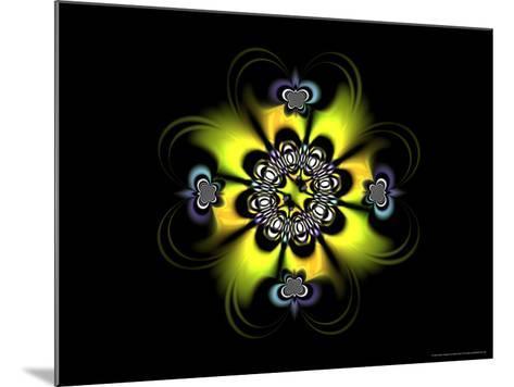Abstract Yellow Flower-Like Fractal Design on Dark Background-Albert Klein-Mounted Photographic Print