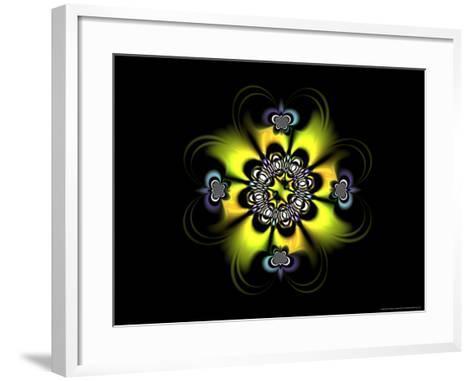 Abstract Yellow Flower-Like Fractal Design on Dark Background-Albert Klein-Framed Art Print