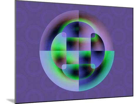 Abstract Green and Blue Fractal Pattern on Purple Background-Albert Klein-Mounted Photographic Print