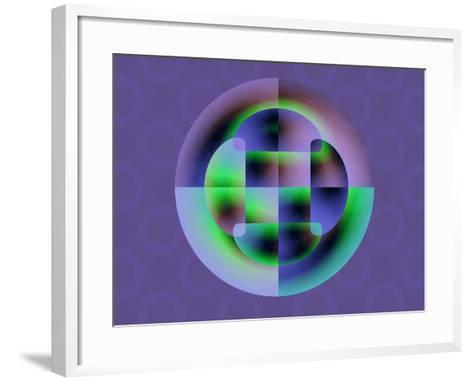 Abstract Green and Blue Fractal Pattern on Purple Background-Albert Klein-Framed Art Print