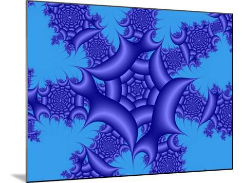 Abstract Blue Fractal Patterns on Sky Blue Background-Albert Klein-Mounted Photographic Print