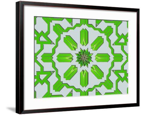Abstract Green Pattern on Grey Background-Albert Klein-Framed Art Print