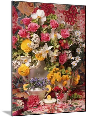 Spring Flower Arrangement, Ranunculus Asiaticus, Rosa Narcissus and Myosotis-Erika Craddock-Mounted Photographic Print