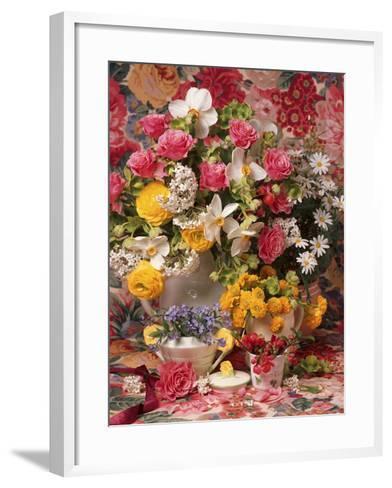 Spring Flower Arrangement, Ranunculus Asiaticus, Rosa Narcissus and Myosotis-Erika Craddock-Framed Art Print