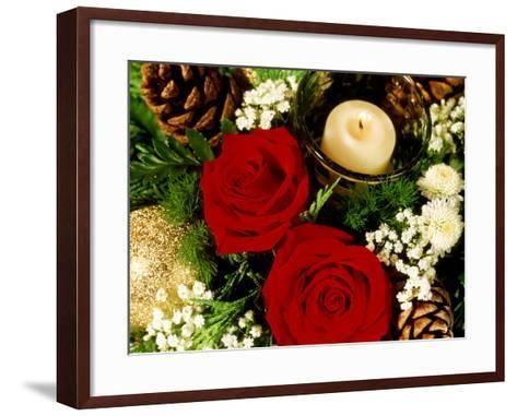 Christmas Arrangement of Two Red Roses with White Chrysanthemum-James Guilliam-Framed Art Print