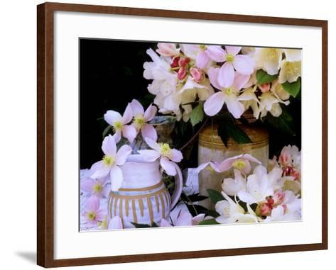 """Rhododendron Yak Hybrid """"Golden Torch"""" and Pink Clematis Montana (Travellers Joy)-James Guilliam-Framed Art Print"""